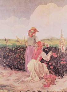 DANIELE DE STROBEL, La raccolta del pomodoro. Olio su tela applicato a muro, 1924-1925. (Sala Conferenze della Cassa di Risparmio)