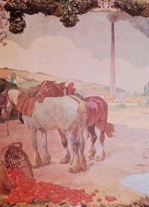 DANIELE DE STROBEL, La lavorazione del pomodoro. Olio su tela applicato a muro, 1924-1925. (Sala Conferenze della Cassa di Risparmio)