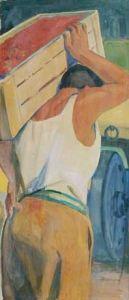 LATINO BARILLI, La lavorazione del pomodoro. Affresco strappato. (Collezioni d'Arte Amministrazione Provinciale Parma)