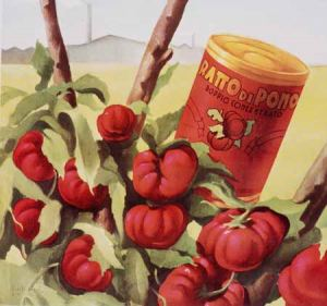 GIUSEPPE VENTURINI, Estratto di pomodoro. Tempera su carta, 1937. (Tratto da Agricoltura Parmense. Numero speciale de l'Avvenire Agricolo, 1937)