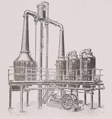 6. Impianto di concentrazione sottovuoto multistadio per pomodoro in una illustrazione dei primi anni del Novecento