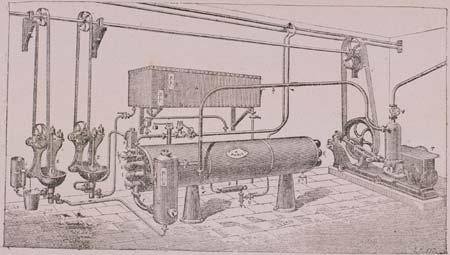 8. Evaporatore continuo multitubolare funzionante sottovuoto in una illustrazione dei primi anni del Novecento