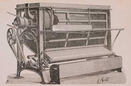 9. Sbaccellatrice automatica per piselli in una illustrazione dei primi anni del Novecento