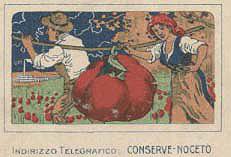 Un pomodoro gigante, ricco di storia e di tradizione, viene portato a spalla da due contadini verso la fabbrica delle conserve. Da una pubblicità della ditta Coperchini, Rossi & C. di Noceto, 1920.