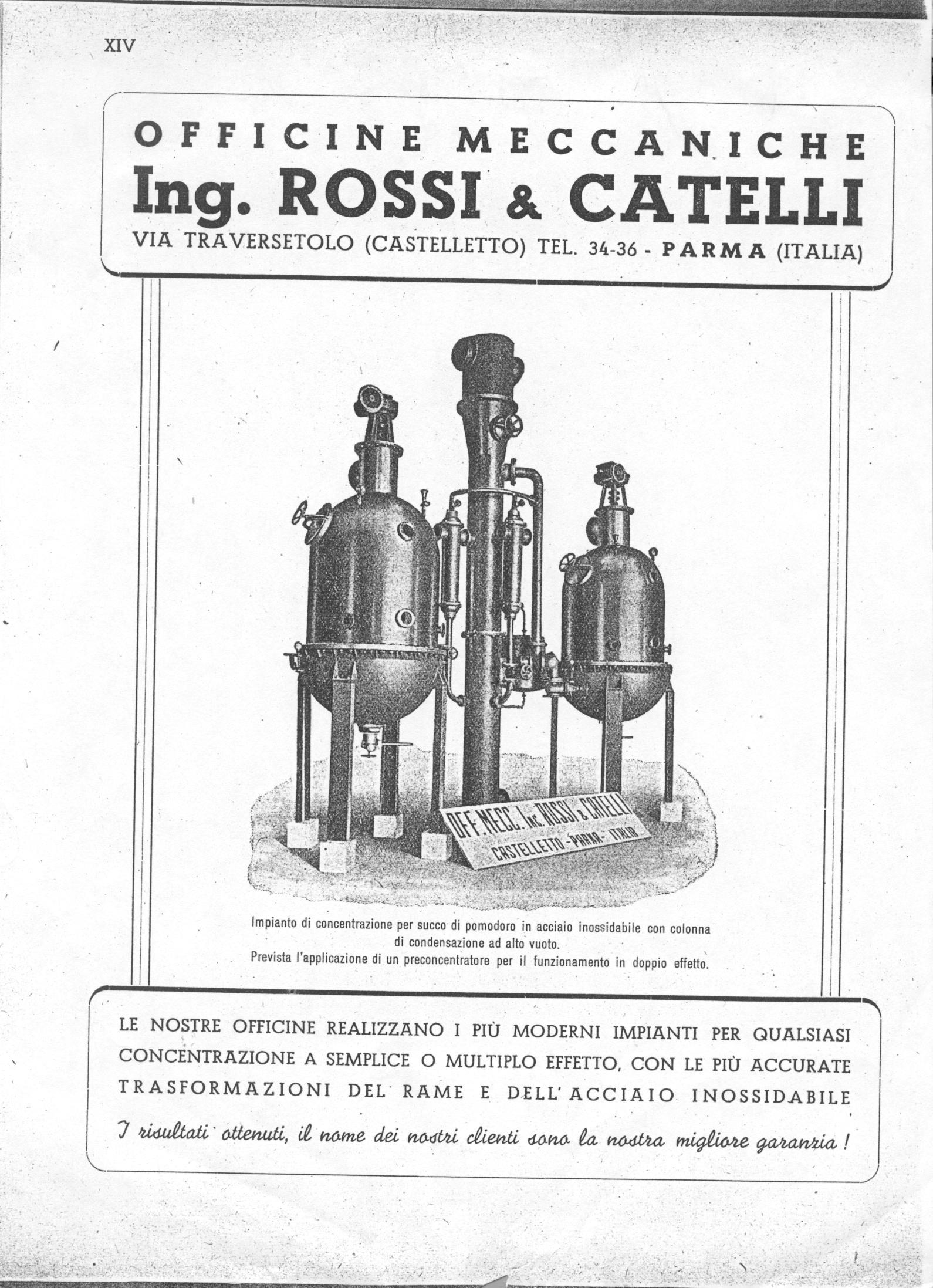 Un impianto di concentrazione per succo di pomodoro con colonna di condensazione ad alto vuoto in una pagina pubblicitaria della Rossi & Catelli databile agli Anni Cinquanta del Novecento