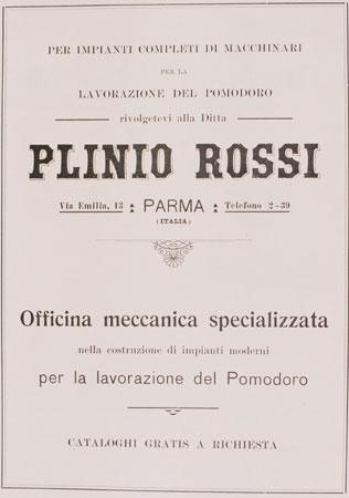 Una locandina della ditta Plinio Rossi