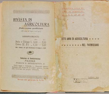 Frontespizio del volumetto Otto anni di agricoltura nel parmigiano, pubblicato nel 1904 (Biblioteca Palatina, Parma)