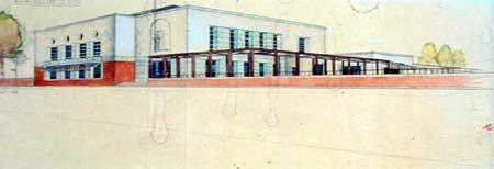 Gino Robuschi, Progetto preliminare del 1935 con diversi padiglioni, ristorante, piscina e fontana monumentale. (CSAC Università di Parma, Fondo Robuschi)