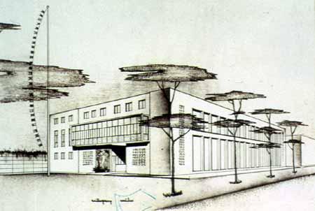 """Gino Robuschi, Schizzo prospettico del padiglione """"B"""" della Mostra delle Conserve, 1942"""