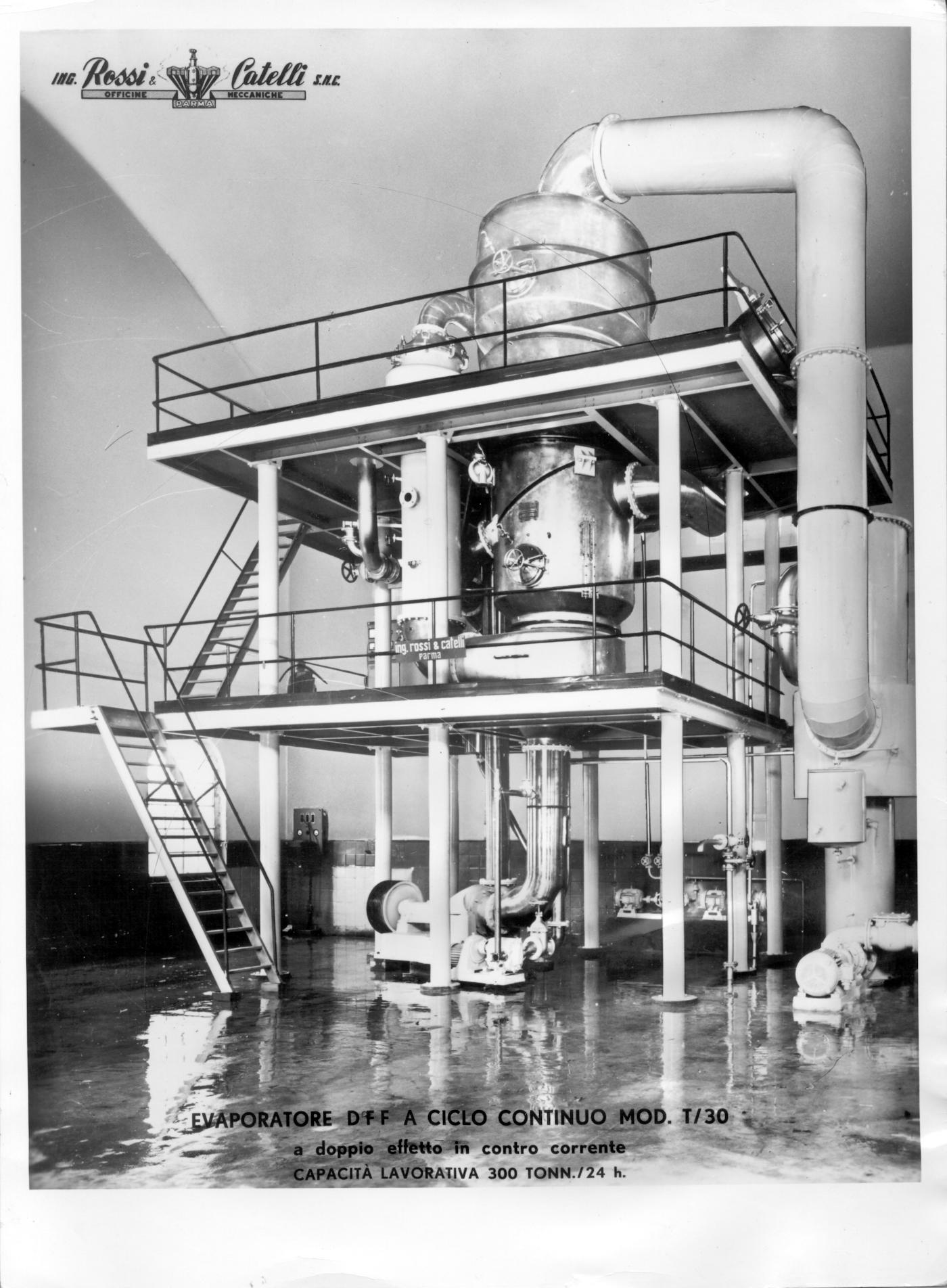 """L'evaporatore a circolazione forzata discendente """"Anteo"""", brevettato da Rossi & Catelli nel 1957."""
