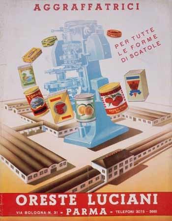 Una locandina pubblicitaria delle aggraffatrici prodotte dall'Officina Luciani