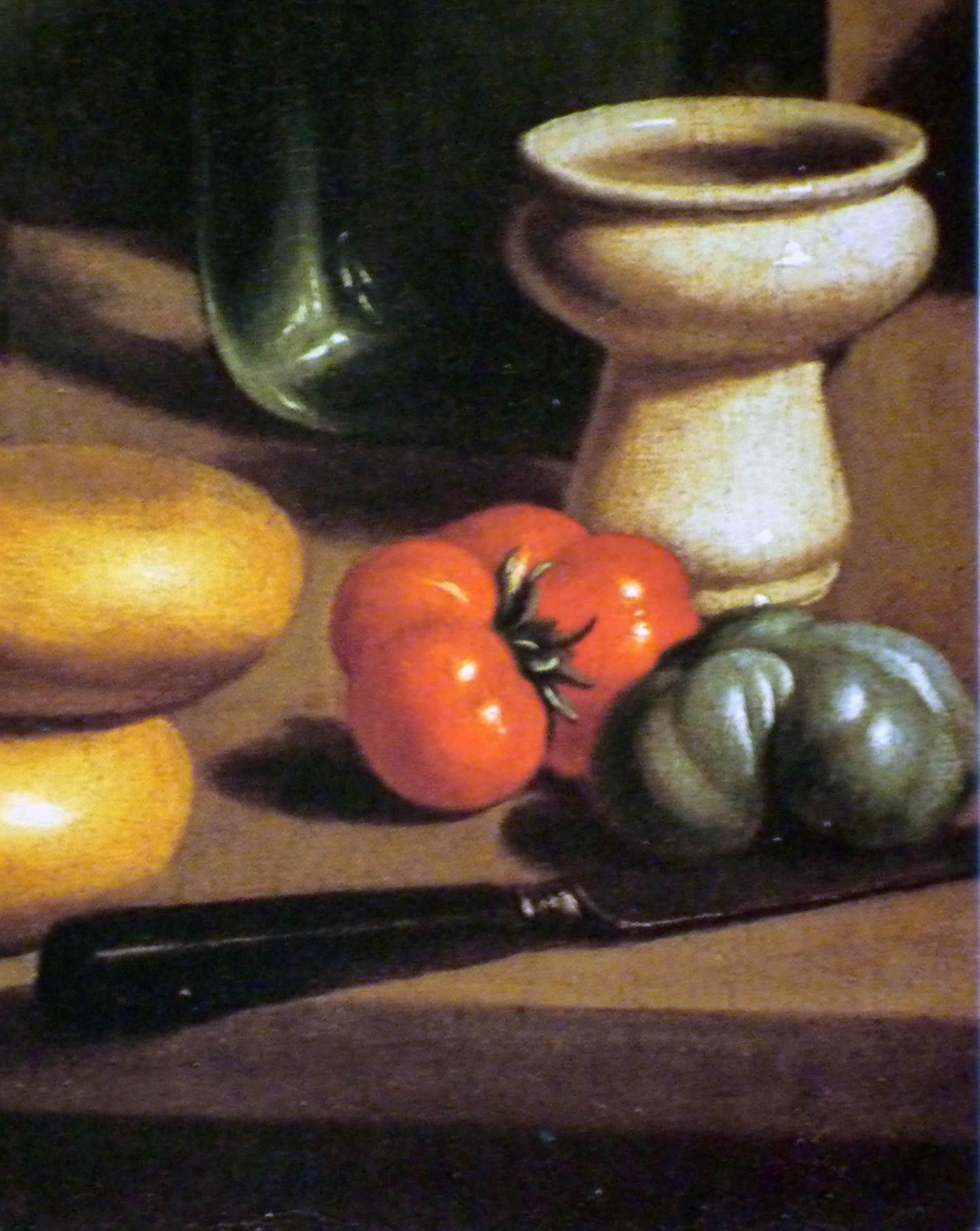 Carlo Magini (1729-1806), Natura morta con cipolle, pomodori, bottiglia e candela, particolare (Collezione privata)