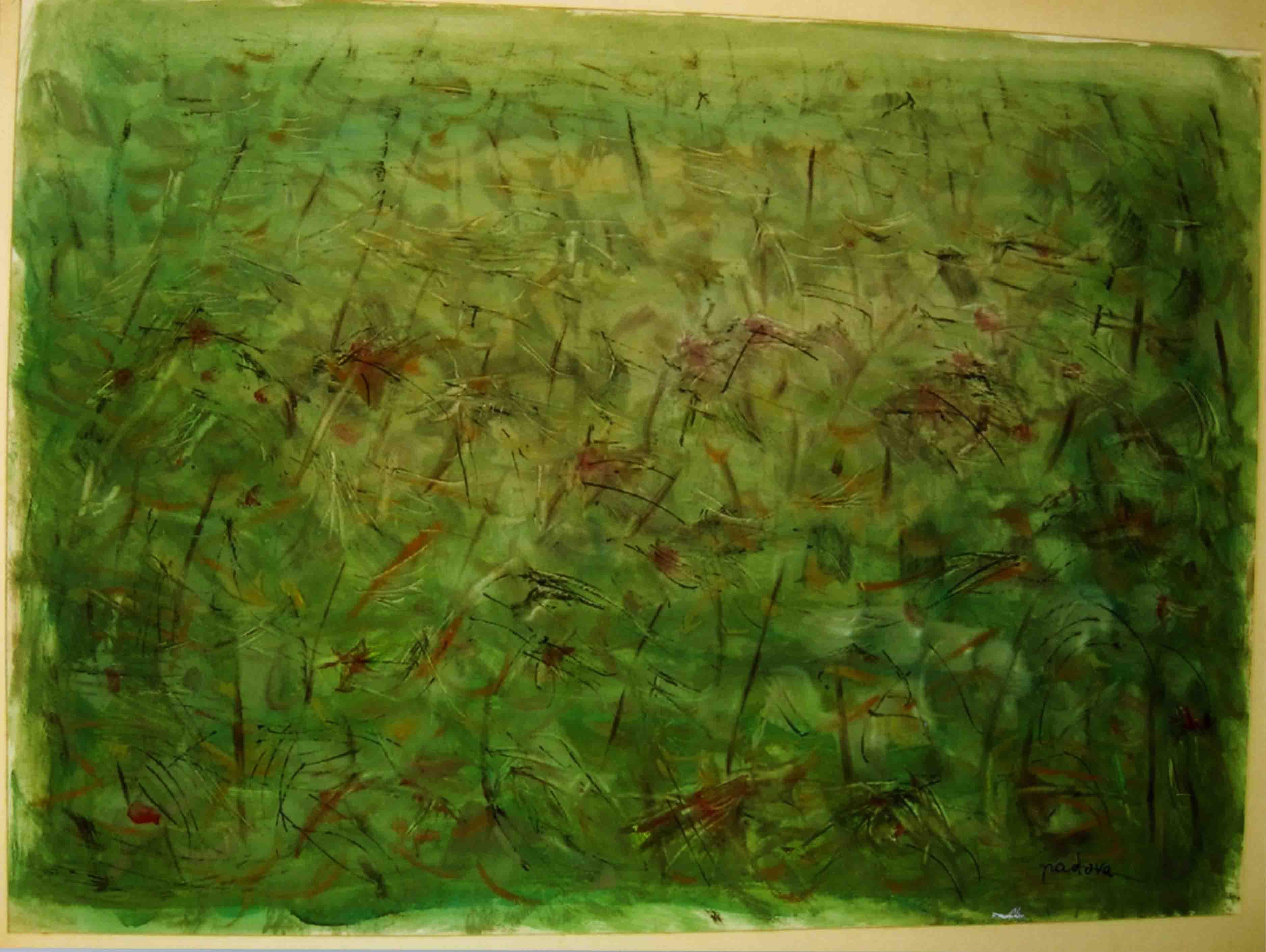 Goliardo Padova (1909-1979), Campo di pomodori durante la siccità, tempera su carta, 1957 (Collezione privata)