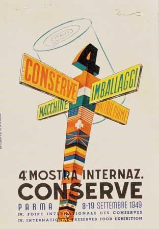Locandine delle prime edizioni del dopoguerra della Mostra delle Conserve di Parma dal 1948 al 1952